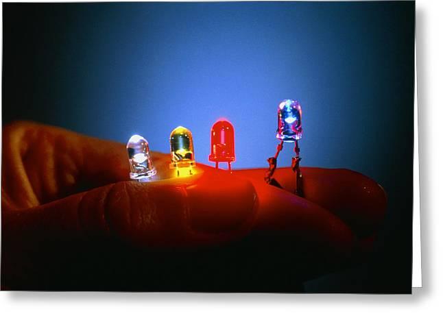 Different Coloured Light Emitting Diodes (leds) Greeting Card by Volker Steger
