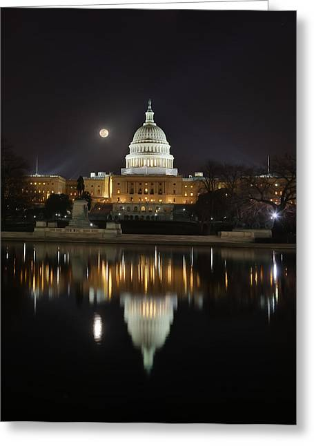 Digital Liquid - Full Moon At The Us Capitol Greeting Card