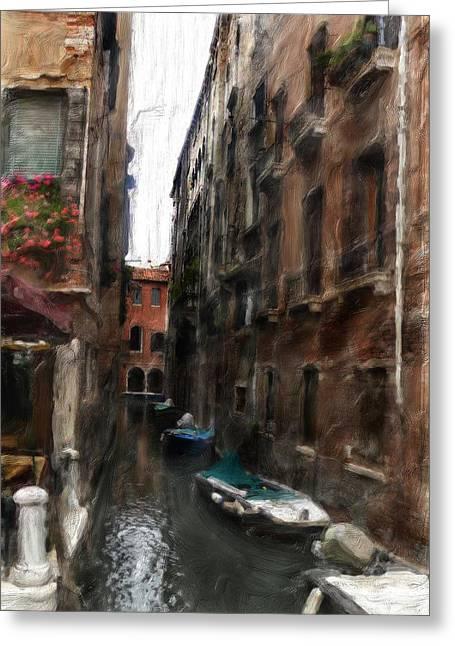 Digital Oil Paining Venice Canal Italy Greeting Card by Heinz G Mielke