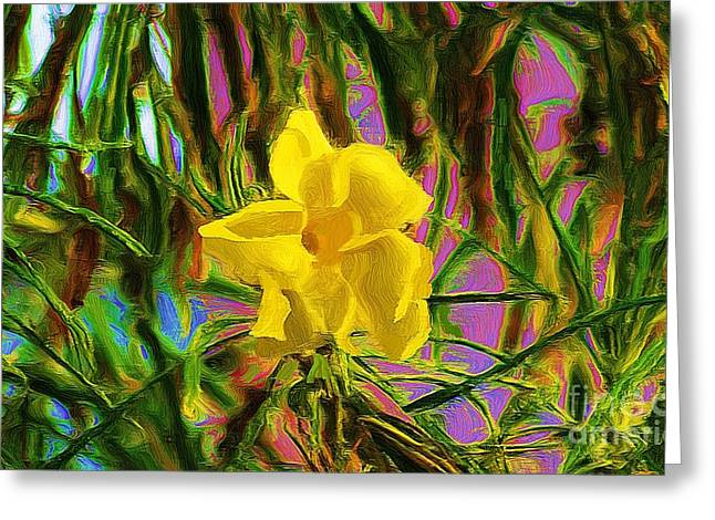 Greeting Card featuring the digital art Digital Painting Of Yellow Orchid by John  Kolenberg