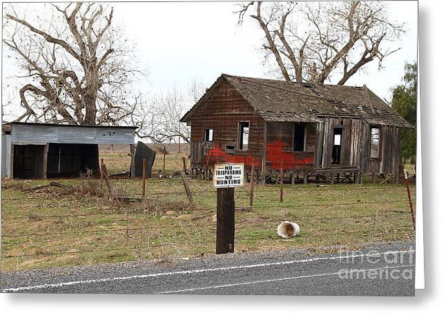 Dilapidated Old Farm House . No Trespassing . No Hunting . 7d10335 Greeting Card