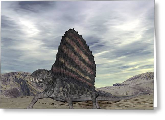 Dimetrodon Grandis Traverses Earth Greeting Card by Walter Myers