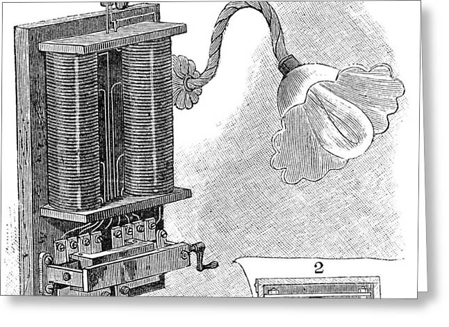 Dimmer Lamp Electrics, 19th Century Greeting Card by