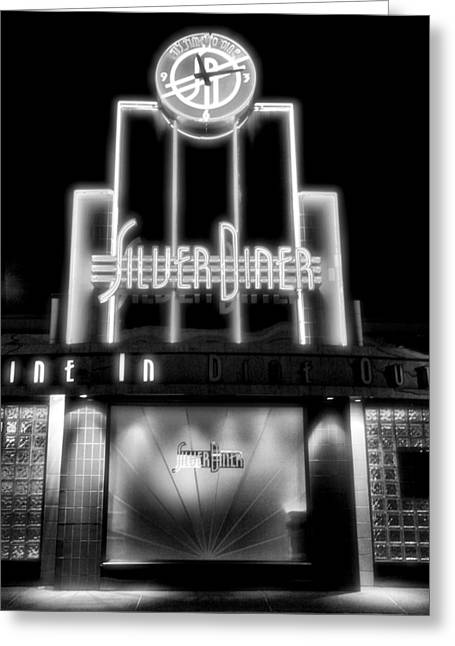 Diner At Night Greeting Card by Steven Ainsworth