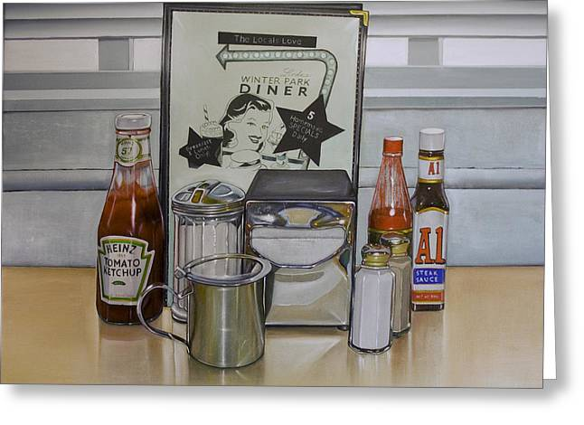 Diner Table Greeting Card by Vic Vicini