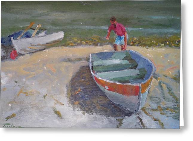 Dinghy Launch Greeting Card by Ron Wilson