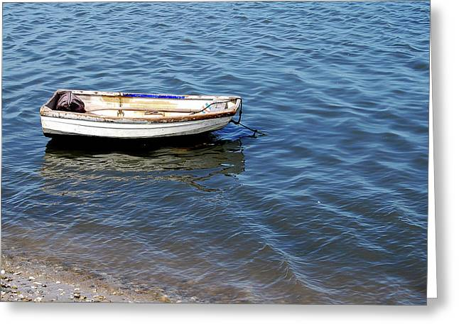 Dingy In St Augustine Bay Greeting Card by Jim and Kim Shivers