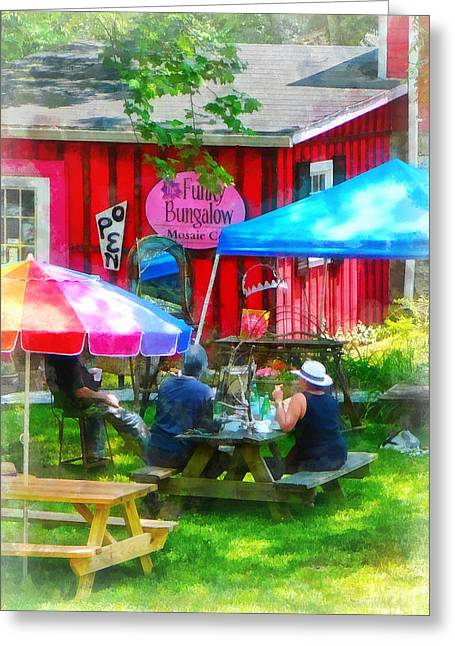 Dining Al Fresco Greeting Card by Susan Savad