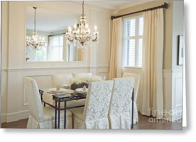 Dining Area And Chandelier Greeting Card