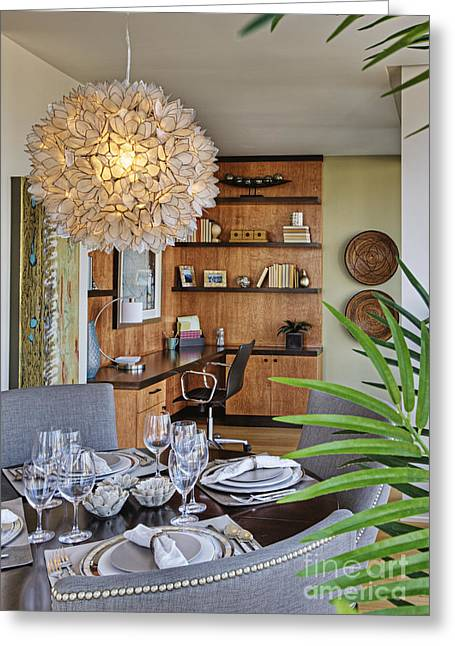 Dining Room Interior With Ornate Light Fixture Greeting Card