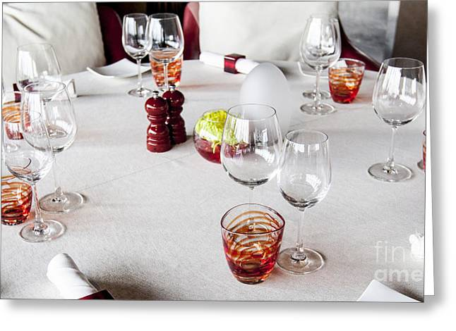 Dining Table. Greeting Card by Chavalit Kamolthamanon