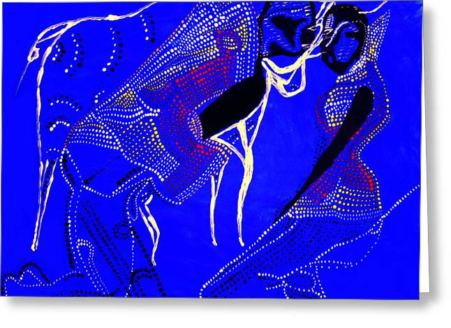 Greeting Card featuring the painting Dinka Marriage by Gloria Ssali