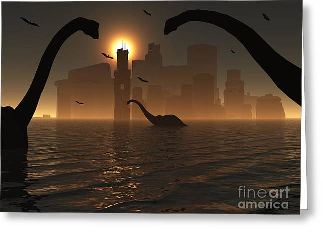 Dinosaurs Feed Near The Shores Greeting Card by Mark Stevenson