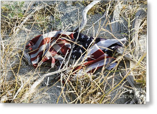 Discarded American Flag Greeting Card by Roberto Westbrook