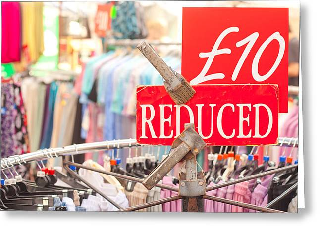 Discount Clothing Greeting Card by Tom Gowanlock