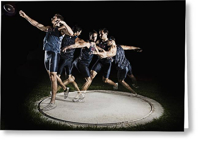Discus Thrower Greeting Card by Mike Raabe