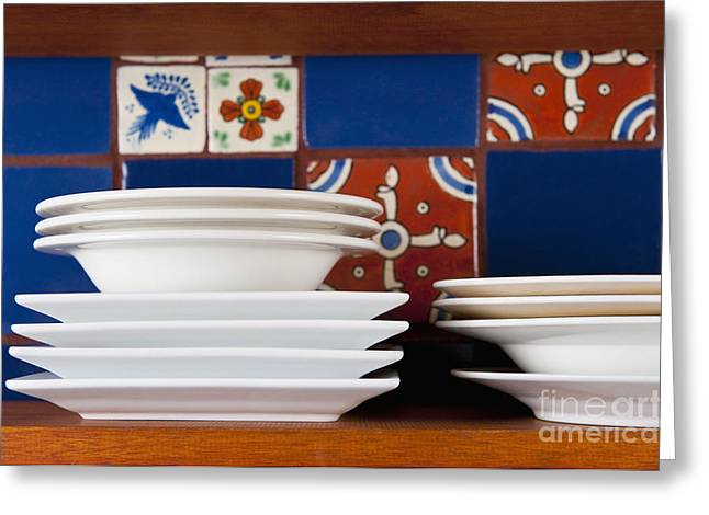 Dishes In Front Of Colorful Tile Greeting Card by Thom Gourley/Flatbread Images, LLC