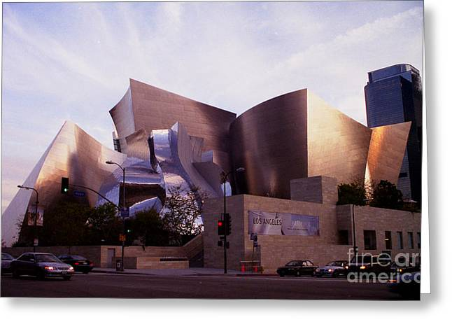 Disney Hall Western View Greeting Card by Ron Javorsky