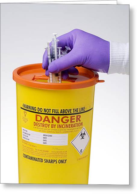 Disposal Of Contaminated Sharps Greeting Card by Paul Rapson