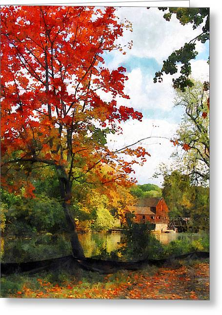 Distant Mill  In Autumn Greeting Card by Susan Savad