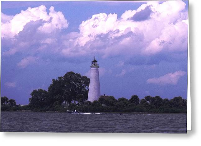Distant Storm-st. Marks Lighthouse Greeting Card by Marilyn Holkham