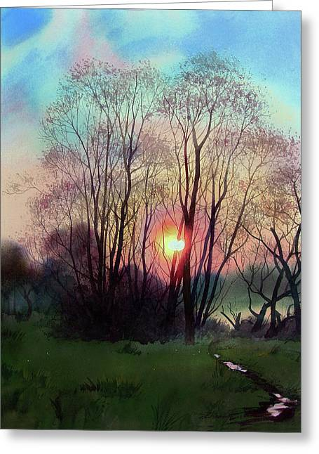 Distant Sunset Greeting Card by Sergey Zhiboedov