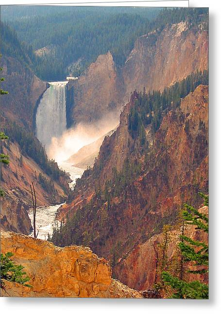 Distant Thunder-lower Waterfall Of Yellowstone Greeting Card