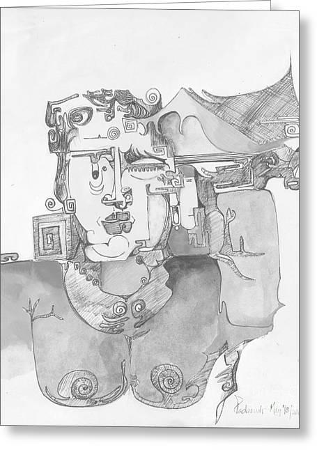 Distortion 3 Greeting Card by Padamvir Singh