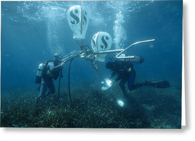 Divers Fixing A Buoy Greeting Card by Alexis Rosenfeld