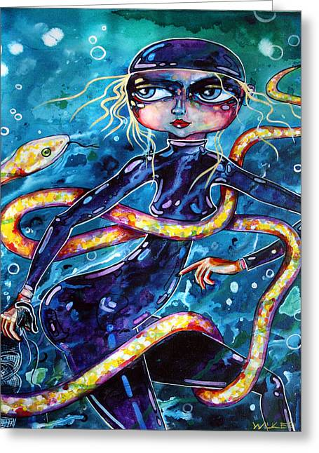 Diving With Serpent Greeting Card by Leanne Wilkes