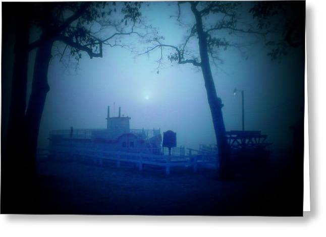 Dixie Boat Fog By Cell Phone Greeting Card by Michael L Kimble