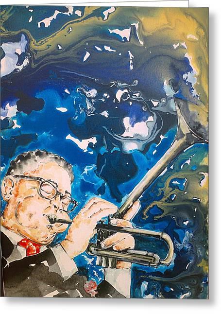 Dizzy Gillespie Greeting Card by Omar Javier Correa