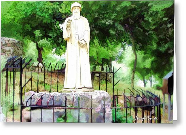 Do-00541 St Charbel Statue Greeting Card by Digital Oil