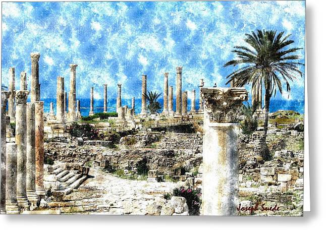 Greeting Card featuring the photograph Do-00549 Ruins And Columns - Town Of Tyr by Digital Oil