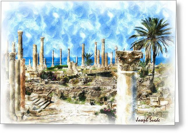 Do-00550 Ruins And Columns Greeting Card by Digital Oil