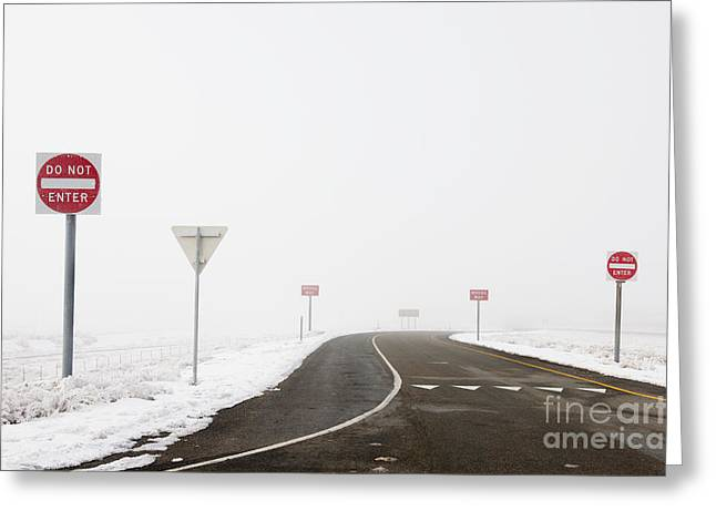 Do Not Enter Signs By Snowy Road Greeting Card by Dave & Les Jacobs