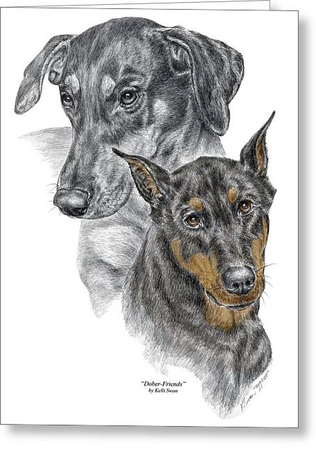 Dober-friends - Doberman Pinscher Portrait Color Tinted Greeting Card