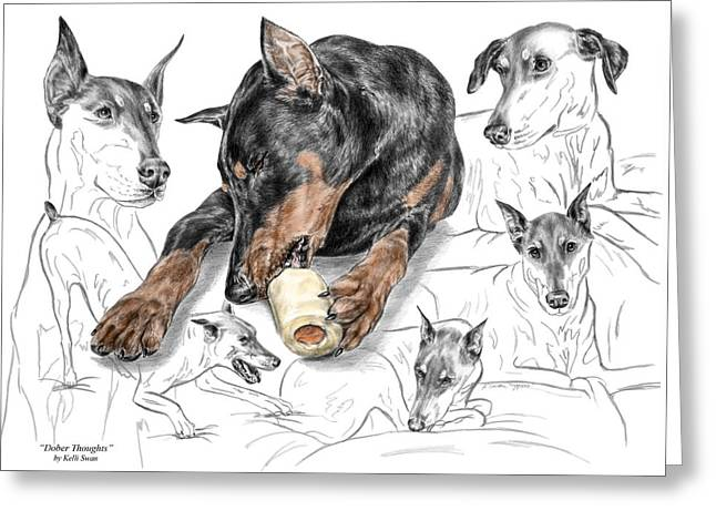 Dober-thoughts - Doberman Pinscher Montage Print Color Tinted Greeting Card
