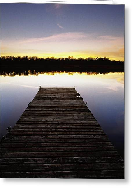 Dock At Sunset Greeting Card by Gareth McCormack