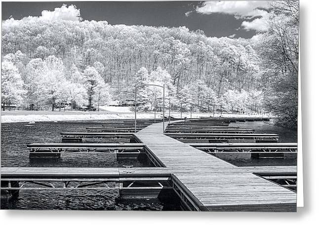 Greeting Card featuring the photograph Dock In Infrared by Mary Almond