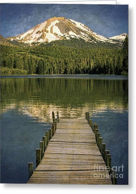 Dock On Mountain Lake Greeting Card by Jill Battaglia
