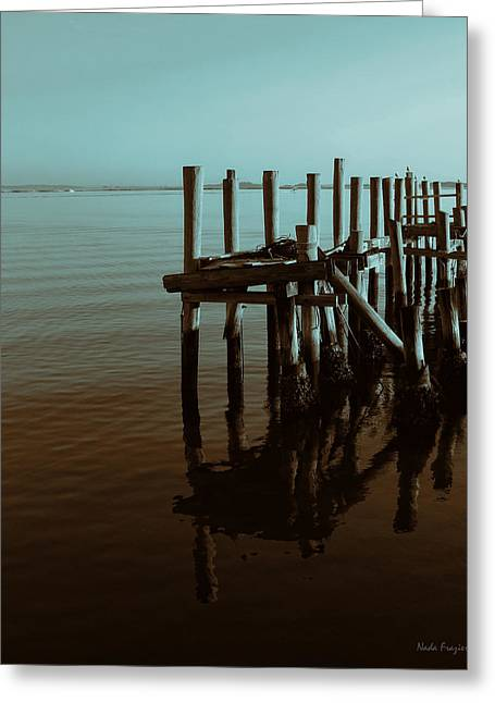 Dock Reflections Greeting Card by Nada Frazier
