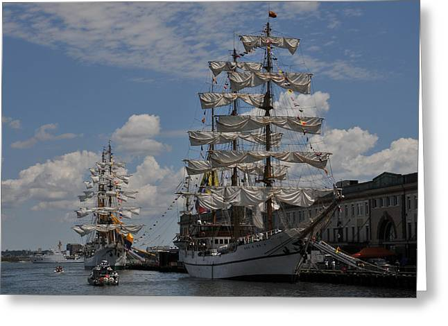 Docked At Fish Pier Greeting Card by Mike Martin