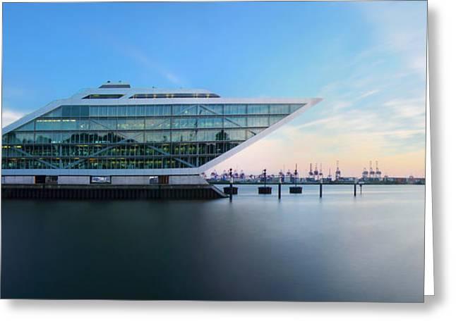Dockland Evening Greeting Card by Marc Huebner