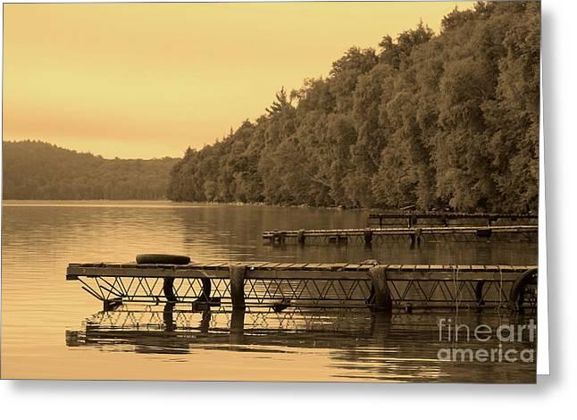 Docks In Sepia Wakomata Lake Greeting Card by Marjorie Imbeau