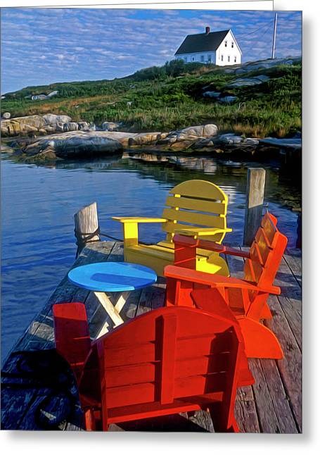 Dockside At Peggys Cove Greeting Card by Dave Mills
