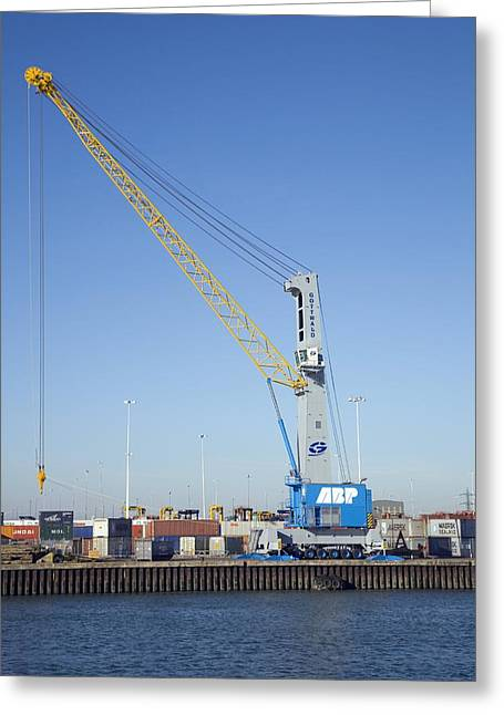 Dockside Crane Greeting Card by Paul Rapson