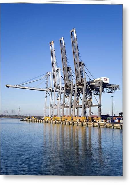 Dockside Cranes Greeting Card by Paul Rapson