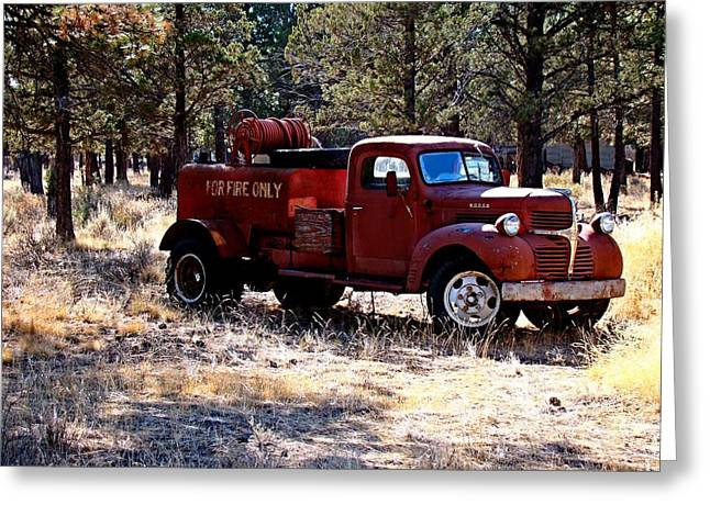 Logging Fire Truck Greeting Card