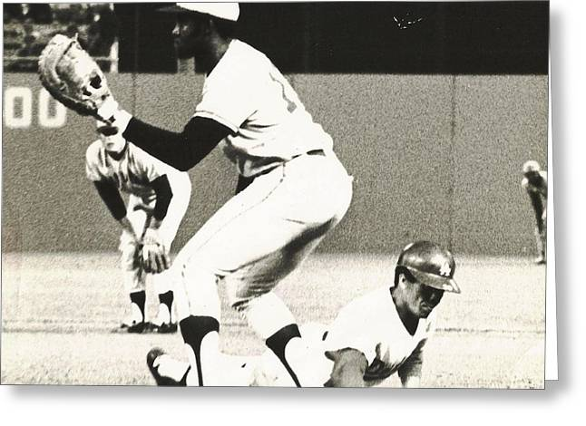 Dodger Maury Wills Diving Back To First Greeting Card